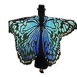 WOZOW Damen Schmetterling Flügel Kostüm Nymphe Pixie Faschingkostüme Umhang Schals Poncho Kostümzubehör Zubehör (Blau-grün)