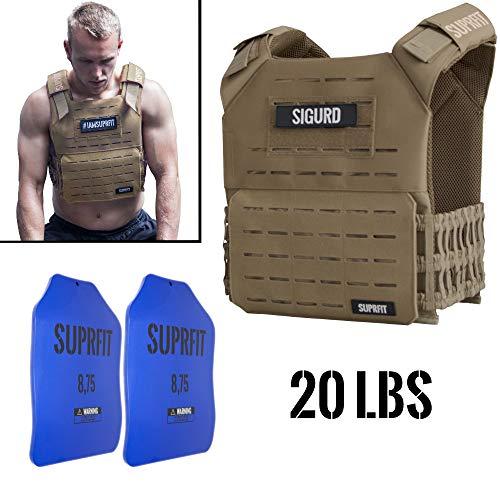 Suprfit Sigurd 3D Gewichtsweste Tan - Basisgewicht: 1 kg, Zusatzgewicht: 2 x 4 kg (blau), Maximalgewicht: 17 kg, Farbe: Braun, Laufweste für Cross Training und Krafttraining, Unisex