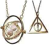 Harry Potter Zeitumkehrer Kette Hermine Anhänger Sanduhr Gold-Weiße Sand