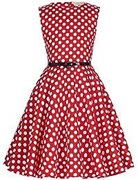 f810af07b Kate Kasin Vestido Vintage Estampado de Niñas Años 50 para Fiesta Cóctel  Vestido Algodón de Verano