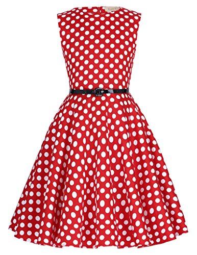 Niña Vestido Retro de Años 50s sin Mangas de Lunares Rojo y Blanco 10 Años KK250-11