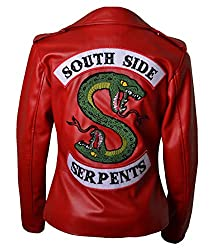 HLS Riverdale Southside Serpents V2 Women Geniune & Synthetic Leather Jacket (S) Red