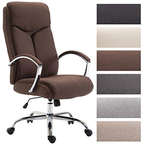 Metall-breit-stuhl (CLP Bürostuhl XL Vaud mit Stoffbezug, Chefsessel, Drehstuhl mit Armlehnen, Bürodrehstuhl mit hochwertige Polsterung, max. Belastbarkeit 140 kg, Braun)