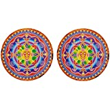 DollsofIndia Pair Of Rangoli Stickers With Diya And Charan Design - Dia - 9 Inches Each (RX04)