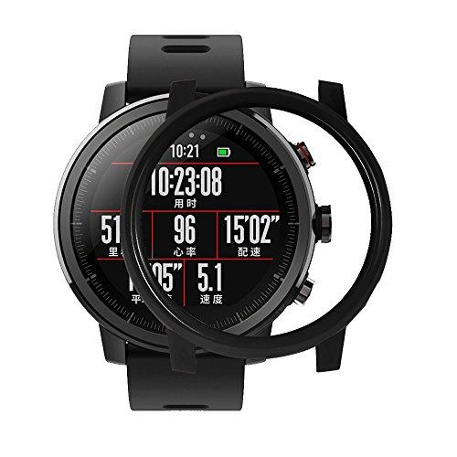 IGEMY Bunte Dünne PC Kasten Abdeckung Schützen Shell für Huami Amazfit Stratos Smart Watch 2 / 2S (Schwarz) (Michael Kors Swarovski Uhr)