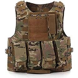 Tactical caza militar Molle Chaleco Militar Airsoft táctica SWAT Chaleco para Policía Holster CP Camo