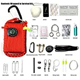 Gaddrt Multi-Purpose 29 in1 Outdoor Hiking Traveling Camping Survival Kit,Safety Gear Rescue Tools Set,Compass/ Fire Starter/ Bandages/ Whistle and much more (red)