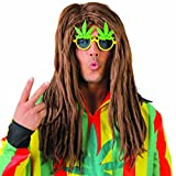 NET TOYS Dreadlocks Sintetici Parrucca Rasta Marroni - Toupet di Carnevale Ricci Rasta Capelli Finti Carnevale Stile Giamaica Capigliatura posticcia Reggae da Uomo Parrucchino Uomo da Fumatore