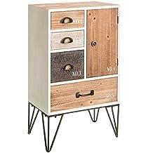 Cómoda de 4 cajones y 1 puerta industrial beige de madera para dormitorio Vitta - Lola Derek