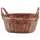 Cestino di Vimini con Maniglia Ovale Naturale Rattan Fruit Bowl Willow Pane Candy Bagagli for Desktop Cesto