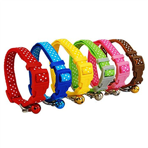 6-Colors-1cm-Small-Polka-Dot-Print-Nylon-Dog-Puppy-Cat-Collar-with-Bell