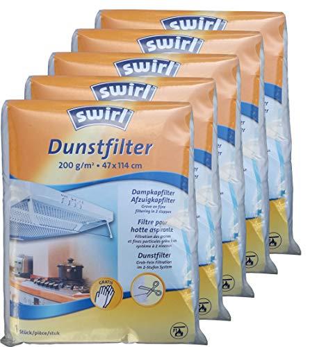 5x Swirl Dunstfilter 200 g/m² Sondergröße 47x114 cm für Dunstabzugshauben zuschneidbar ...