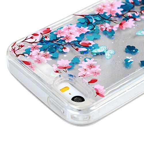 KASOS Coque iPhone 5 5S SE, Coque Housse Case Bumper Étui Coque de Protection en TPU Silicone Poudre Brillante Courante Fluide Ambulante Ultra Slim Mince Léger Antichoc Housse Case iPhone 5 5S SE Coqu Bleu Papillon