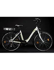 Adore Damen Alu City Pedelec Versailles E-Bike 250 Watt Li-Ion 36V/10,4 Ah 6 Gänge Fahrrad, Weiß-Grün, 28