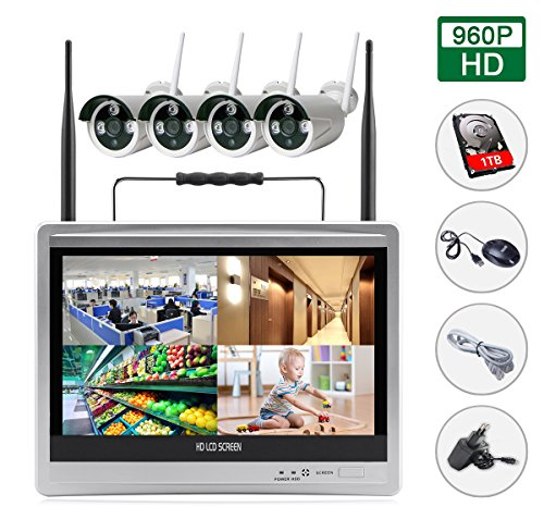 EDSSZ® 4 Kanäle 960P Wireless IP Kameras System Easy Remote Access IR Tag / Nachtsicht Wasserdichte Kamera, Portable 12 Zoll HD LCD Monitor WIFI NVR KIT, intern gehören 1TB Festplatte WIFI NVR KIT EDS-WIFILCD12-960P-1TB