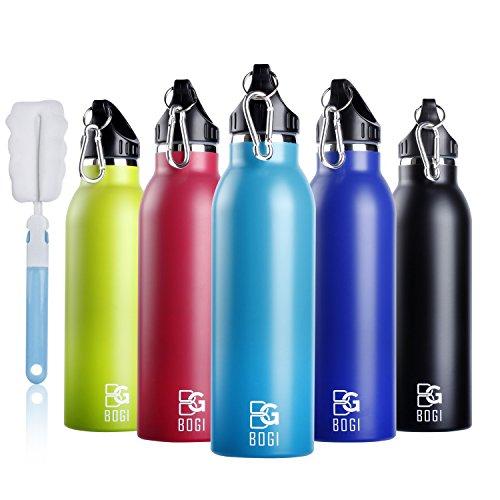 BOGI 600ml Bottle Doppelwandige Vakuum isolierte Edelstahl Trinkflasche, um Ihre Getränke heiß und kalt zu halten Ideal für Outdoor Sport Camping Mountainbike Yoga, Auto und Büro- BPA frei(Black) (Womens Basketball Blue)