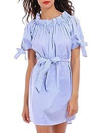 La Modeuse - Robe courte et rayée bleue