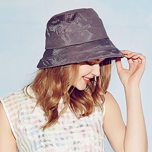 Kenmont été Femmes dame seau soleil chapeau à large bord de plage vacances bouchon Bleu