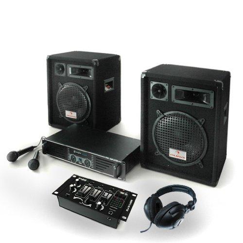 PA Anlage Bass Boomer USB Set Verstärker Boxen Mics 800W
