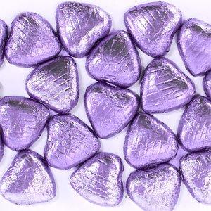 Coeurs chocolat lilas (paquet de 20)
