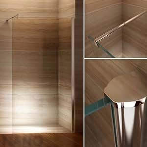 i-flair Walk In Dusche, 10mm STARK, Duschabtrennung aus ESG Sicherheitsglas mit NANObeschichtung #840 (140cm x 200cm)
