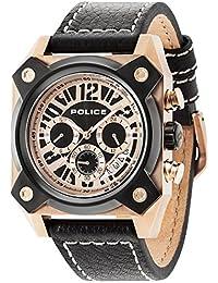 Police Hellcat hommes de montre à quartz avec affichage analogique et bracelet en cuir noir cadran noir 14691jsrb/02A