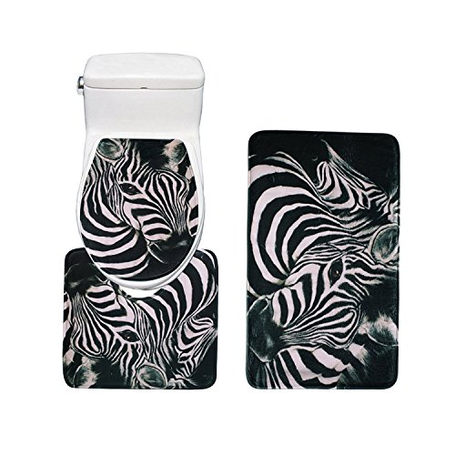 RedBeans 3Stück Ultra weicher Flanell Zebra Muster Bad-Teppiche Set, groß Matte 45,7cm X 30Contour Matte 40,6cm X 18Deckel 40,6cm X 18 -