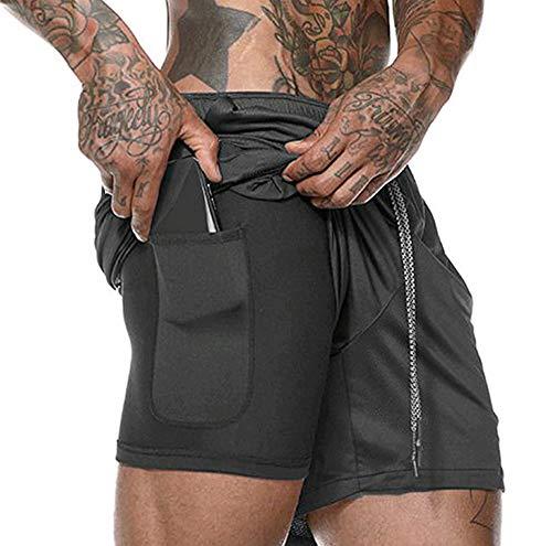 ASKSA Herren 2 in 1 Shorts Laufshorts Dual Kurze Sporthose Männer Fitness Laufhose Sport Hosen Trainingshose (Schwarz, M) -