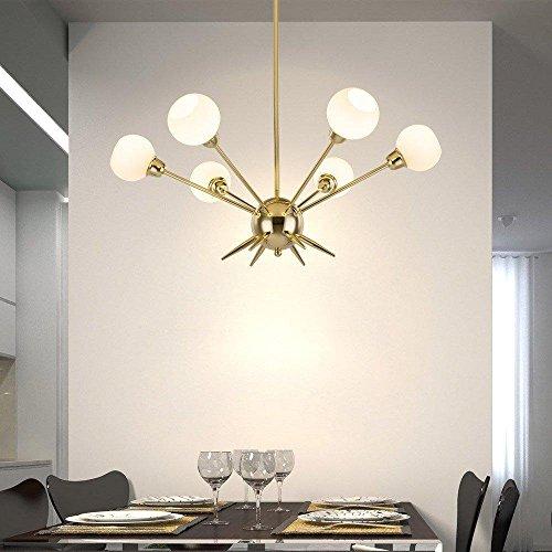 6 Lights Sputnik Chandelier Modern Light Fixture Golden Pendant Light