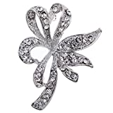 Amybria Vogue Silver Plated Full Crystal Inlay Flower Hollow Brooch Pin Women Gift