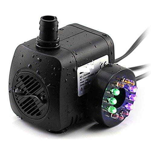 15W 700L H Pompa acqua / sommergibile con 12 luce di colore LED per Fontana Giardino dello stagno carro armato di pesci d