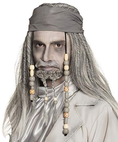 Karnevalsbud - Kostüm Accessoires Zubehör Herren Perücke Piraten Wig Deluxe, Horror Ghost Geist Zombie Gespenst, perfekt für Halloween Karneval und Fasching, Grau