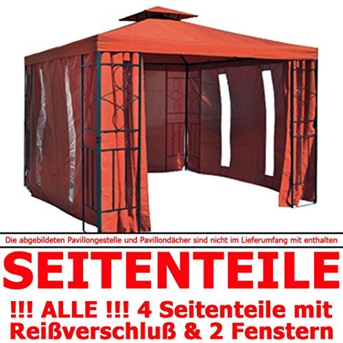 habeig Pavillon Seitenteile Terrakotta mit Fenster & Reißverschluß an JEDER Seite Pavillion grau