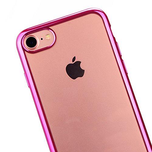 Zaprado Apple iPhone 7 Hülle transparent Schutzhülle Rand mit Metallic-Look Case Bumper ultra leicht und dünn aus TPU schützt alle Ecken und Kanten, COLOR: Rosegold pink