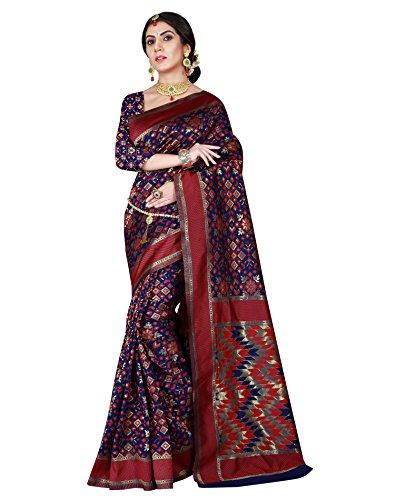 Viva N Diva Women's Patola Silk Blue & Red Saree