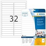 Herma 4209 Etiketten ablösbar, wieder haftend (96 x 16,9 mm) weiß, 800 Aufkleber, 25 Blatt DIN A4 Papier matt, bedruckbar, selbstklebend, Movables