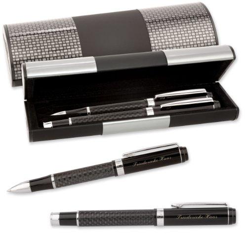 LOGIC-Etui mit SCHREIBSET CARBON MÄANDER 2-teilig Kugelschreiber Tintenroller mit Gravur