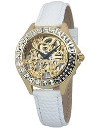 Burgmeister Armbanduhr für Damen mit Analog Anzeige, Automatik-Uhr und Lederarmband - Wasserdichte Damenuhr mit zeitlosem, schickem Design - klassische, elegante Uhr für Frauen - BM520-206 Merida