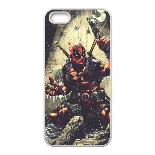 Deadpool coque iPhone 5 5S Housse Blanc téléphone portable couverture de cas coque EBDXJKNBO12276