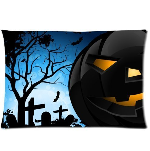 Zcfhike Mina-Shop Halloween Evil Pumpkins Bats Creepy Scary Halloween Spooky Scary Background Embroidered Cotton Linen Decorative Throw Kissen Cover Cushion Case Kissen Case,20x30inch Two-Sided