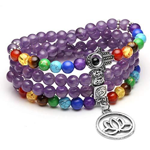 CrystalTears 108 Perlen mala Kette Wickelarmband 7 Chakra Tibetische Buddhistische gebetskette Armband Meditations Rock Lava Halskette mit OM Lotus Buddhas Hand anhänger (Lila Amethyst)