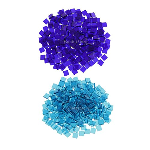 sharprepublic 500 Stücke Glas Mosaik Fliesen Für Kunsthandwerk Kobaltblau Meer Blau - Meer-glas-fliese