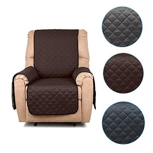 Auralum Doppelseitig Sofaüberwurf Sesselschoner 177cm*56cm 1-Sitzer Sesselschutz Haustier sofakissen Kaffee mit Beige