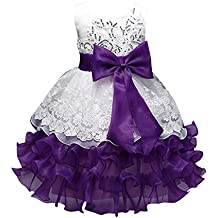 Las Niñas Sin Mangas Niños Vestido De Gasa Princesa Vestido Arco Vestido Niña De Las Flores Boda Púrpura para 140CM