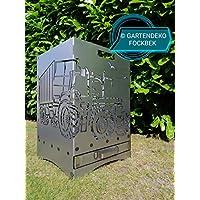 """Gartendeko Fockbek Feuerkorb""""Trecker 3 mit Ladewagen"""" ca 40 x 40 x 60 cm inkl Ascheschublade und Zwischenboden"""