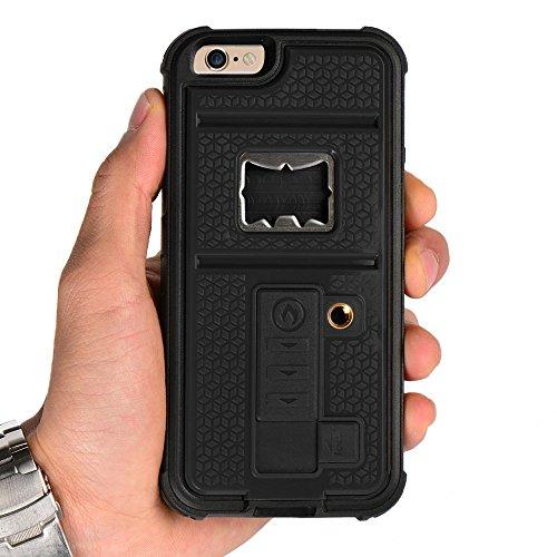 """ZVE Iphone 6 4,7""""case multi-fonction coque housse étui pour iPhone 6 + stable design pour trépied de caméra + allume- cigares + ouvre-boîte (noir)"""