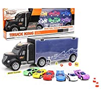 Woyisisi Portable Alloy Truck Carrying Container with 6 Pull-back Car Models 8 Barrier Blocks Kids Toy