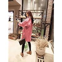 &zhou Cappotti di lana donne. confezionati sciolti in autunno e inverno più dimensioni dimagrante cocoon cappotto lana panno. spessore inverno. Trench lungo , s , pink