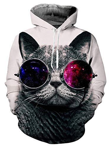 Bruder Kostüm Schwester - Fanient Herren Herren Neuheit Cat Hoodie Langarm 3D Gedruckt Grafik Galaxy Sweatshirts