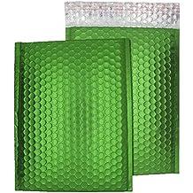 Purely Packaging - Sobres autoadhesivos (acolchados con papel de burbujas, C5+, 250 x 180 mm, 100 unidades), acabado mate metalizado, color verde